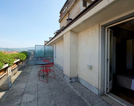 The panoramic view from the terrace of the superior rooms of the best Western Hotel Luxor in Torino